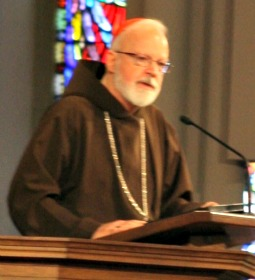 Cardinal Sean O'Malley, archbishop of Boston, addresses the interfaith gathering yesterday at the Cathedral of the Holy Cross.