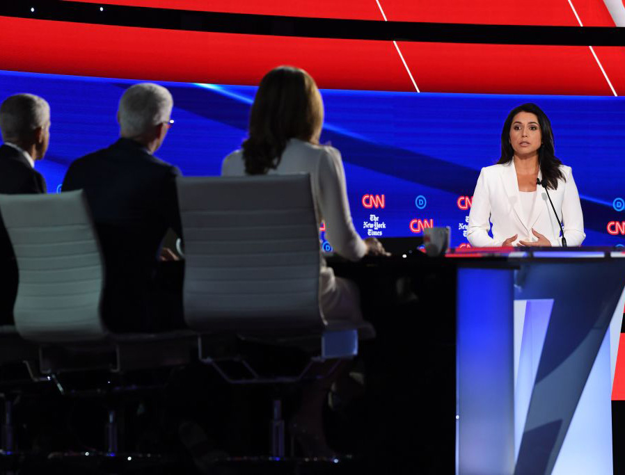 Tulsi Gabbard speaks onstage during the Democratic primary debate Oct. 15 at Otterbein University in Westerville, Ohio.