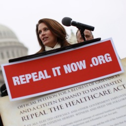 Rep. Michele Bachmann (R-MN) speaks at a news conference where Republican members of the House displayed petitions Americans have signed demanding the repeal of healthcare legislation Jan. 18 in Washington. The Supreme Court will hear oral arguments on the law next spring.
