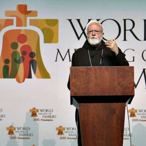 Cardinal Sean O'Malley of Boston gives a keynote address in Philadelphia at the World Meeting of Families, Sept. 25, 2015.