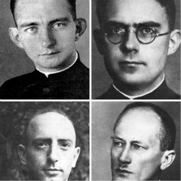 MARTYRS. Three Catholic priests and a Lutheran pastor from the northern German city of Lubeck were executed by the Nazis in Hamburg Nov. 10, 1943. The three Catholic martyrs, pictured clockwise from bottom left, Fathers Eduard Mueller, Johannes Prassek and Hermann Lange, are to be beatified in June. The Rev. Karl Friedrich Stellbrink is pictured at bottom, right.