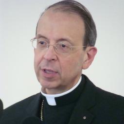 Archbishop-Designate William Lori of Baltimore speaking to reporters in Bridgeport, Conn.