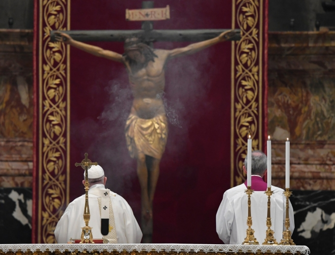 Pope Francis celebrating the solemn Mass of the Lord's Supper on Holy Thursday, April 9, 2020.