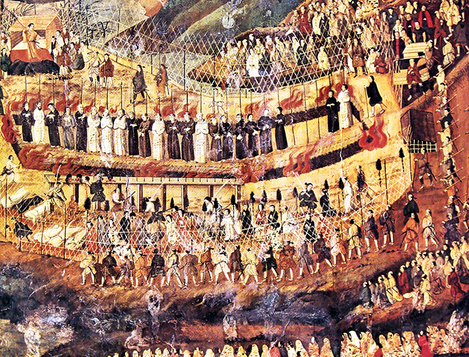 The Christian martyrs of Nagasaki are depicted by an unknown 17th century Japanese artist.