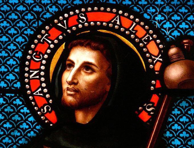 Saint Alexius, from the Church of Saint-Pierre-ès-Liens in Pomport, Dordogne, France.