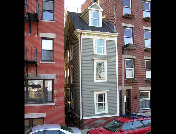 "The Skinny House in the North End of Boston is an extremely narrow four-story house reported by the Boston Globe as having the ""uncontested distinction of being the narrowest house in Boston""."