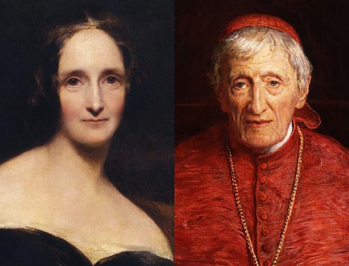LEFT: Mary Shelley, by Richard Rothwell, 1840. RIGHT: John Henry Newman, by John Everett Millais, 1881.