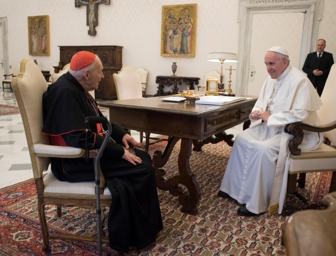 Cardinal Theodore McCarrick meets with Pope Francis in July 2018.
