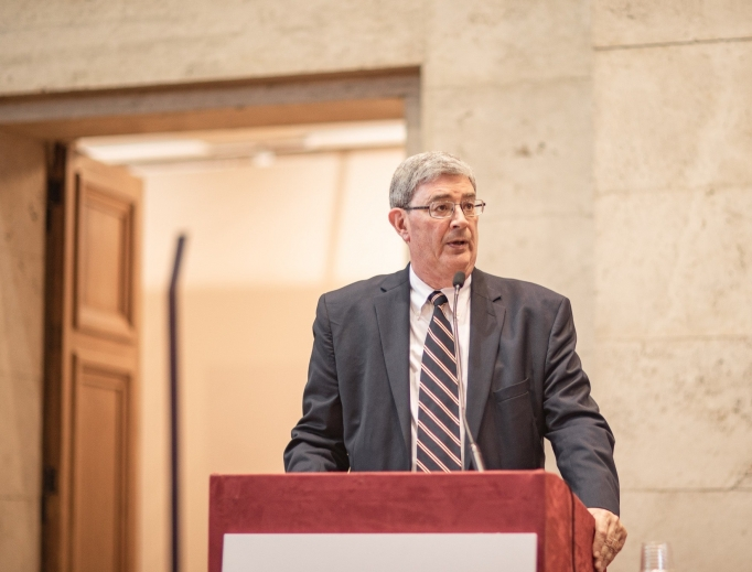George Weigel, shown speaking at the Oct. 12 conference, spoke in Rome this week of the enduring legacy of St. John Henry Newman.