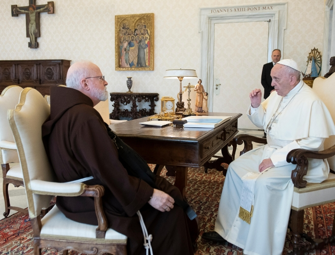 Pope Francis speaks with Boston Cardinal Seán O'Malley April 19, 2018, in Vatican City. Cardinal  O'Malley has raised fundamental questions about the Vatican approach to dealing with sexual abuse.