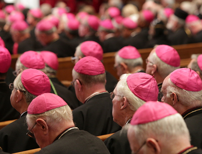 U.S. bishops gather in St. Matthew's Cathedral in Washington, D.C., on Sept. 23, 2015, during the visit of Pope Francis.
