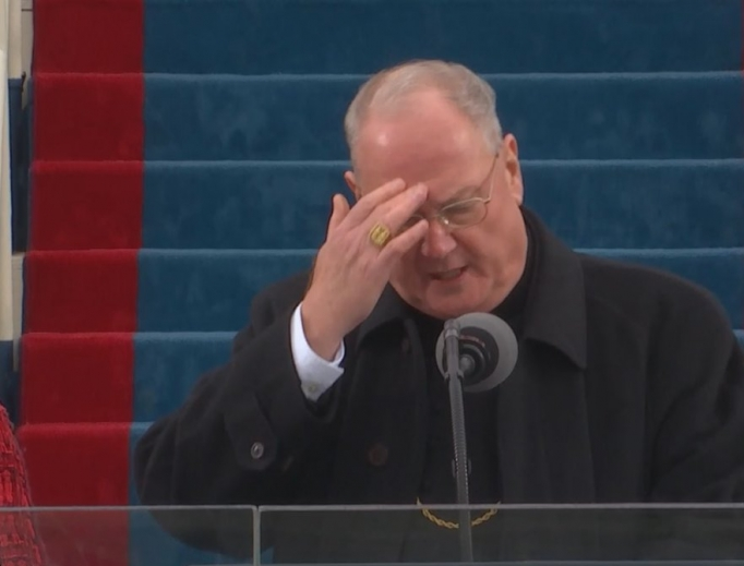 Cardinal Dolan during President Trump's inauguration in 2017.