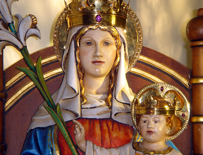 The statue of Our Lady of Walsingham in the Slipper Chapel, Walsingham, Norfolk, England.
