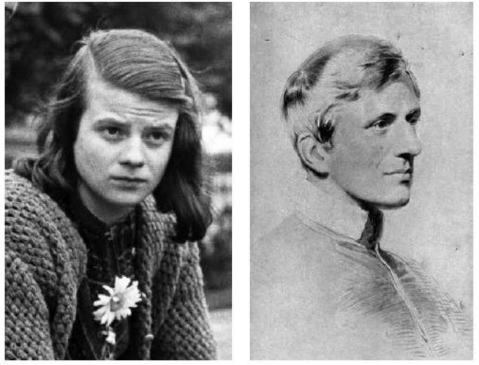 John Henry Newman (r) influenced Sophie Scholl (l) and her resistance group during World War II.