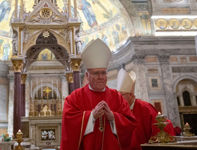 Bishop Richard Malone of Buffalo, New York, celebrated Mass inside the Basilica of St. Paul Outside the Walls with members of the U.S. Conference of Catholic Bishops' Region II during their ad limina visit in Rome Nov. 12.