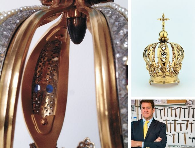 Bejeweled crowns made by Casa Leitão & Irmão (Jorge Leitão  is shown) adorn Mary to honor her as Our Lady of Fatima at her Portugal shrine.  The crown of the statue of Our Lady of Fatima holds the bullet that hit Pope St. John Paul II in 1981. On May 12, 1982, Pope John Paul II prayed in front of the statue of the Virgin Mary at the Chapel of the Apparitions in Fatima. The Pope visited the shrine to give thanks for surviving the assassination attempt the year before in St. Peter's Square.