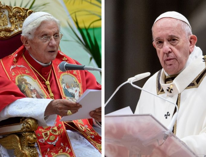 L to R: Pope Emeritus Benedict XVI and Pope Francis have both clearly stated Church teaching on a variety of topics.