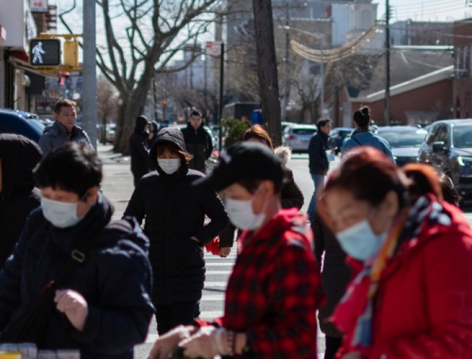 Residents in New York City wearing masks, March 7, 2020.