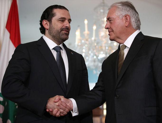 Lebanese Prime Minister Saad Hariri (l) meets with U.S. Secretary of State Rex Tillerson July 26 in Washington, D.C.