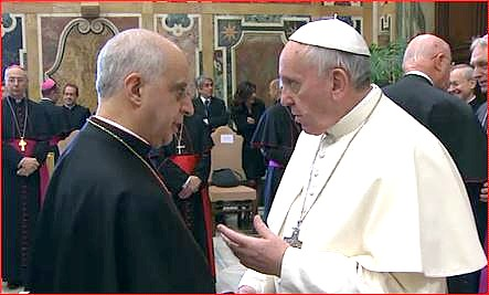 Pope Francis meeting Archbishop Rino Fisichella, president of the Pontifical Council for Promoting the New Evangelization, after delivering today's address.