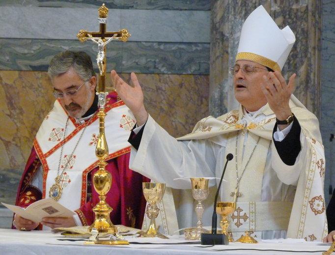 Bishop Gregory John Mansour of the United States' Maronite Catholic Church celebrates Mass in Rome.