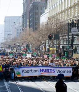 Pro-life supporters marching in the 2013 West Coast Walk for Life.