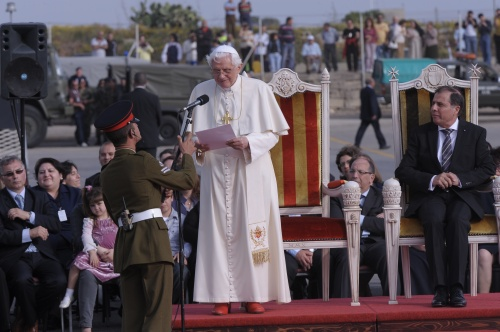 Pope Benedict XVI about to give his address at Malta's airport.