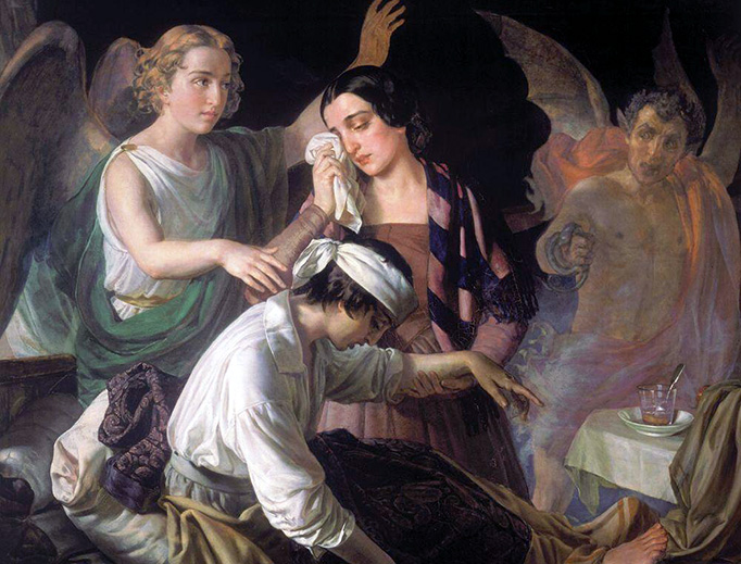 """Alexey Tyranov (1801-1859), """"Angel Fighting for the Soul"""""""