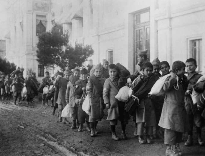 Armenian orphans are shown being deported from Turkey in 1920.