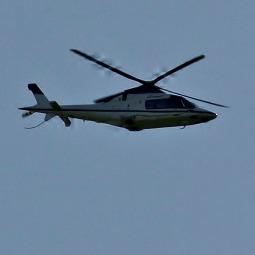 Helicopter carrying Pope Emeritus Benedict XVI flies above the Vatican May 2.
