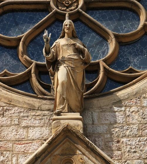 Sacred Heart of Jesus statue adorns Cathedral of Jesus' Heart in Sarajevo.
