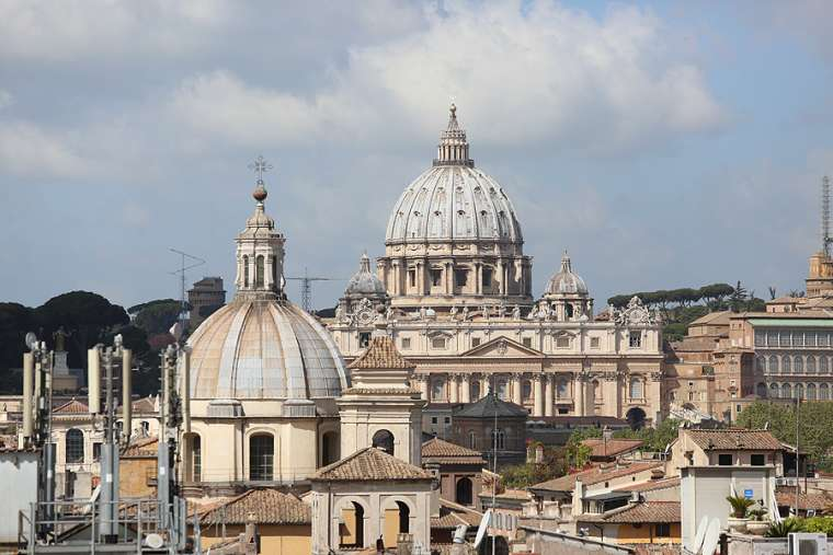 A view of St. Peter's Basilica from the Pontifical University of the Holy Cross April 14, 2016.