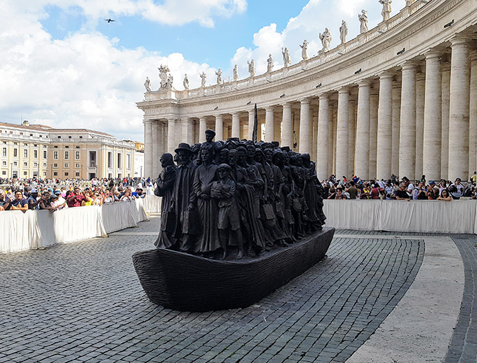 "The ""Angels Unawares"" sculpture in St. Peter's Square"