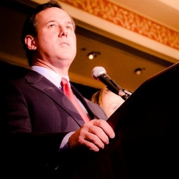 Rick Santorum speaks at a rally in Missouri on the evening of Feb. 7, when he won three GOP races.