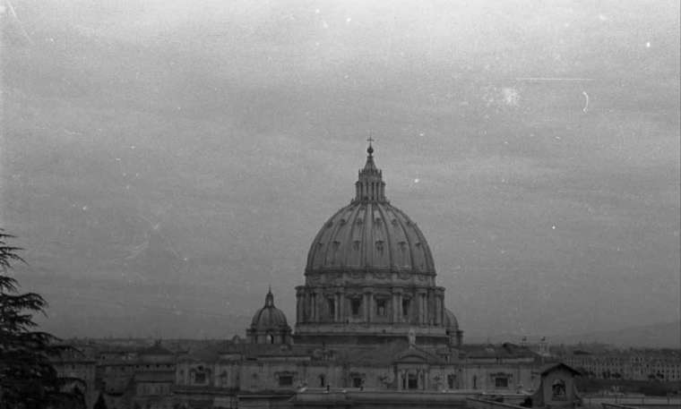 St. Peter's Basilica is shown in 1940.