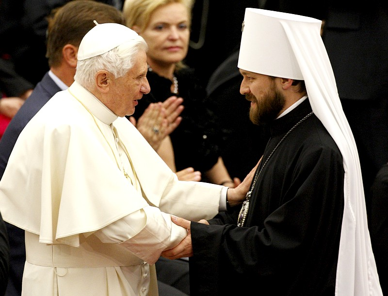 Pope Benedict XVI exchanges greetings with Russian Orthodox Metropolitan Hilarion of Volokolamsk prior to a concert at the Vatican May 20. The concert was a gift from Russian Orthodox Patriarch Kirill of Moscow.