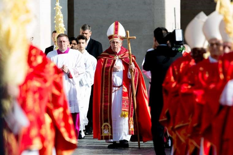 Pope Francis celebrates Palm Sunday Mass in St. Peter's Square March 25.