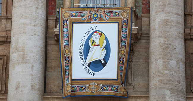 """Year of Mercy"" at the Divine Mercy Vigil in St. Peter's Square on April 2, 2016."
