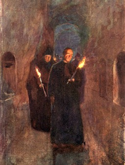 Detail of 'A Procession in the Catacomb of Callistus' (Alberto Pisa, 1905), Inscriptions in the catacombs include prayers for the dead.