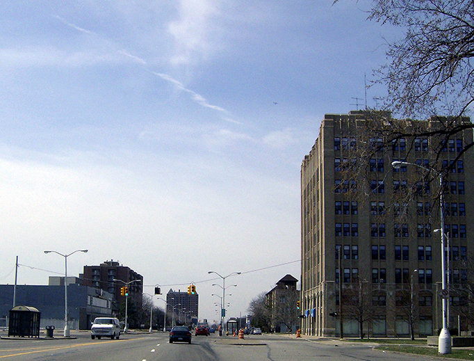 West Grand and 12th Street/Rosa Parks in Detroit, the site of rioting in 1967.