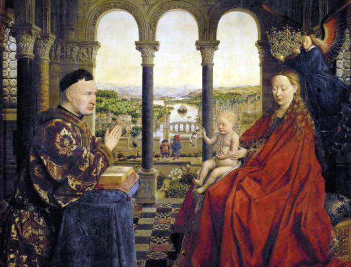 """Jan van Eyck, """"The Virgin with Chancellor Rolin,"""" 1435"""