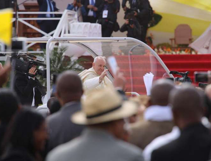 Pope Francis arrives for Mass in Antananarivo, Madagascar Sept. 8, 2019.