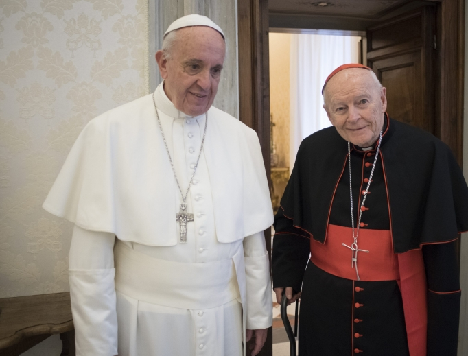 Pope Francis meets with Cardinal Theodore McCarrick July 23.