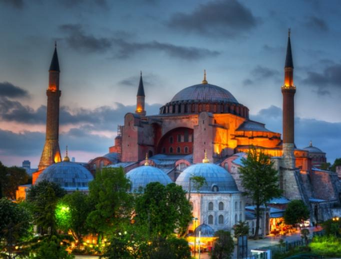 Hagia Sophia in Istanbul at dusk.