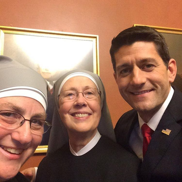 Speaker Paul Ryan with Little Sisters of the Poor before the 2016 State of the Union address.