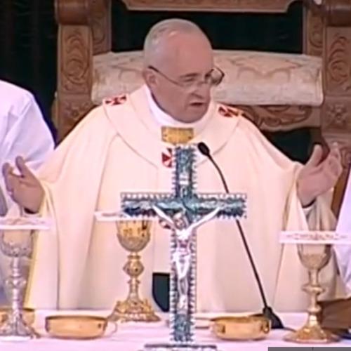 Pope Francis celebrates Mass May 24 in Amman, Jordan.