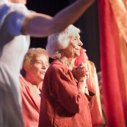 Sisters surround keynote speaker Barbara Marx Hubbard.