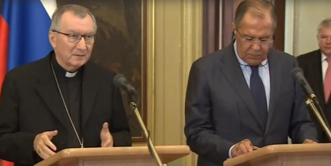 Vatican Secretary of State Cardinal Pietro Parolin and Russian Foreign Minister Sergei Lavrov speaking to reporters in Moscow, Aug. 22, 2017.