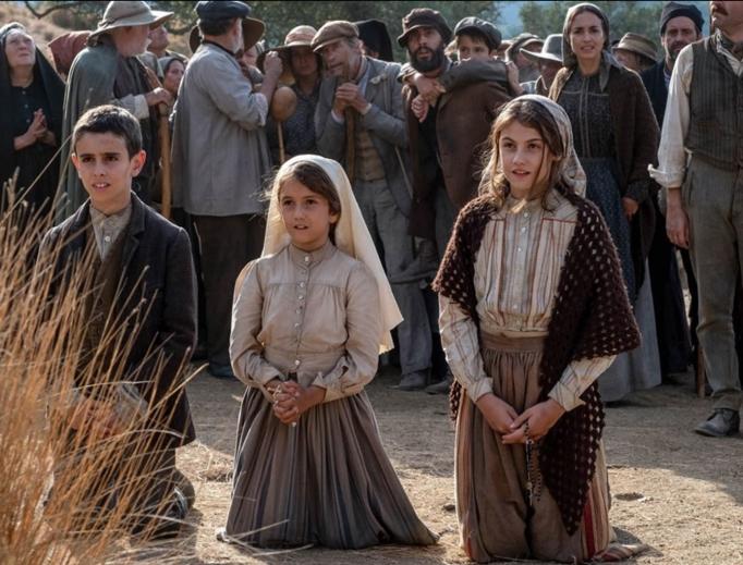 A scene from Fátima shows the three shepherd children.