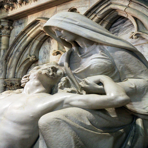 The Pieta, the crucified Christ received by his mother Mary, as featured in St. Patrick's Cathedral in New York City.